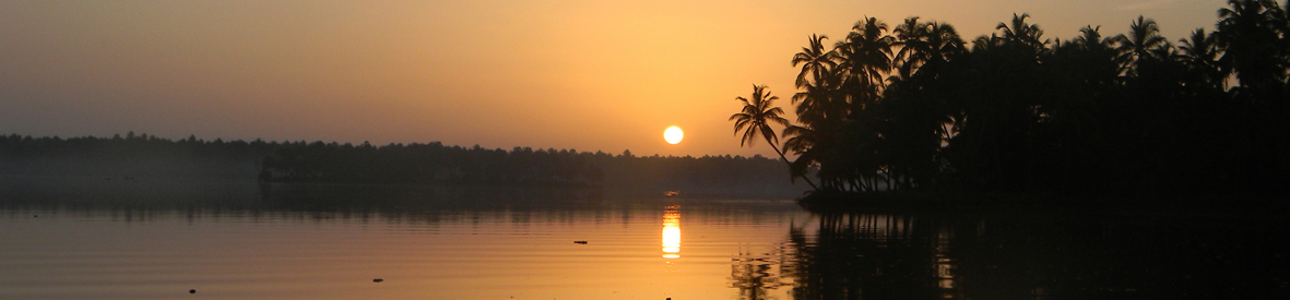 Sunrise in Coconut Island, Kerala